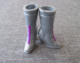 barbie doll silver calf boots with purple stripe cool vintage