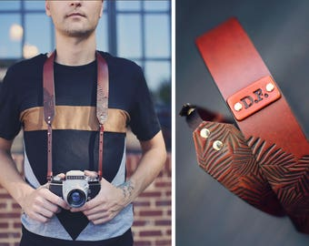 Leather Camera Strap, Custom Camera strap, Photographer personalized gift, Mahogany stain, Palm leaves, tropical, Custom text, name initials