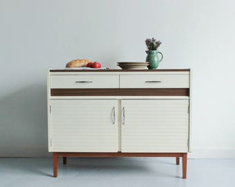 Vintage 1970s White and Wood Effect Kitchen Cabinet / Sideboard
