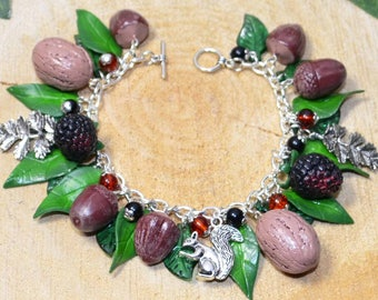 Autumn Gifts of Nature Bracelet - Handmade Jewellery Featuring Walnuts, Blackberries, Acorns, Hazlenuts, and a Squirrel