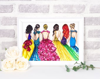 Princess Rainbow Dress Collection (Fashion Illustration Print)