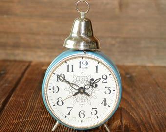 NEW JANTAR Soviet Alarm Clock, Large Russian Mechanical clock, USSR Working clock , Old alarm clock , blue color working