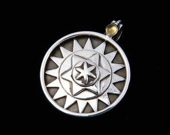 Seed of Life - Pendant - Sterling Silver - Citrine