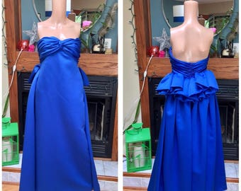Vintage 80s Rizik Brothers Strapless Avant Garde 80s Designer Evening Party Gown S M