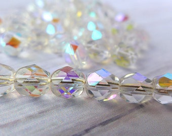 Czech Glass Beads Faceted 6mm - CRYSTAL AB - 50pcs