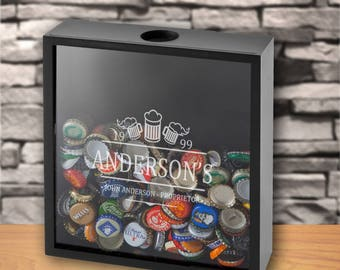 Personalized Beer Bottle Cap Display Shadow Box   Personalized Beer Cap  Display   Gifts For Him