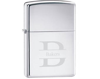 Engraved High-Polished Zippo Lighter - Personalized Zippo - Engraved Zippo Chrome Lighter - Groomsmen Gift - Gifts for Him - GC140