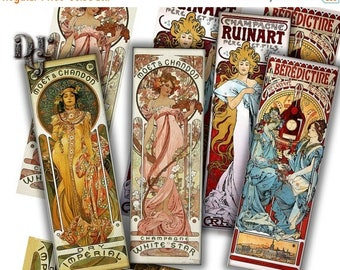 40% Mucha Bookmarks Digital Collage Adversiting by Mucha Collage Sheet, Instant Download Junk Journal Tags Scrapbook Tag Digital Bookmarks S
