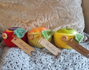 Crochet apple cozy teacher gift
