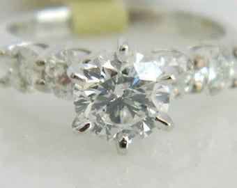 Beautiful 14K White Gold EGL Certified Diamond Engagement Ring