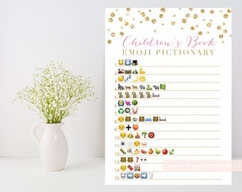 Children's Book Emoji Pictionary printable, Gold baby shower game, gold confetti, baby book downloadable shower game, INSTANT DOWNLOAD 008