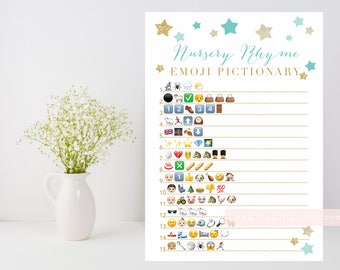 Nursery Rhyme Quiz Emoji Pictionary printable, Twinkle Star shower game, baby rhyme downloadable, mint and gold INSTANT DOWNLOAD 006