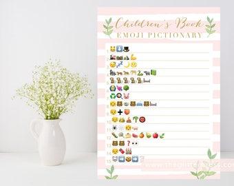 Pink gold green, Baby girl shower game, Children's Book Emoji Pictionary printable, leafy green, pink stripe shower, INSTANT DOWNLOAD 012