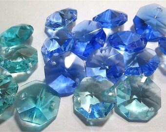12 Blue Vintage Crystals