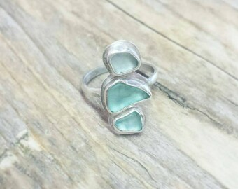 Sterling silver seaglass ring unique 3 stones bohemian beachstyle