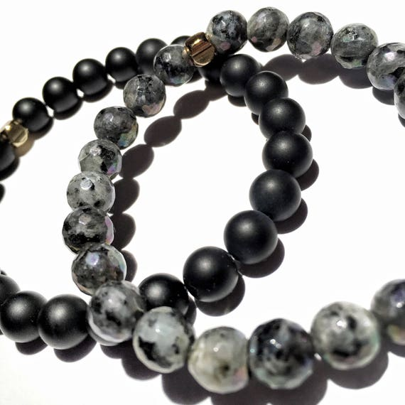 Strength and Potential: Matte onyx and faceted labradorite beaded  Bracelet 8mm, gemstone, Meditation,Mala,Gold plated, mens, women, unisex