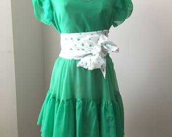 St. Patrick's Day Vintage Green Dress, Irish or Leprechaun Square Dancing Dress