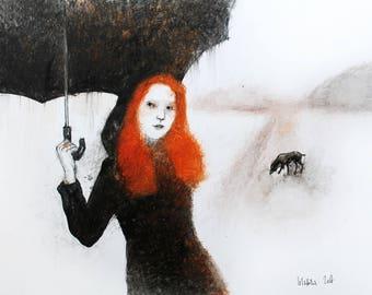 Original Watercolor painting Woman with black Umbrella. Watercolor mixed media painting. Dog watercolor illustration. Watercolor wall art.