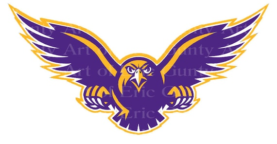 Purple & Gold Hawk Mascot Birthday - Edible Cake and Cupcake Topper For Birthday's and Parties! - D22733