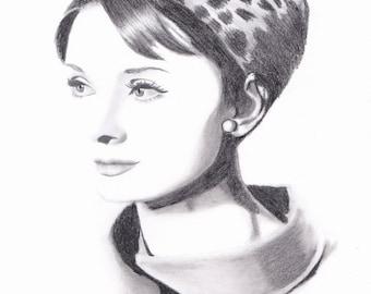 Audrey Hepburn Minimalism Original Pencil Drawing