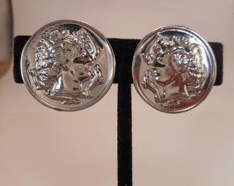 Vintage Greek Coin Clip on Earrings Sarah Coventry Large Silver Tone Earrings