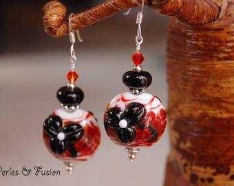 Glass Lampwork earrings * flower * red/black/white - handmade - murano glass - silver hooks