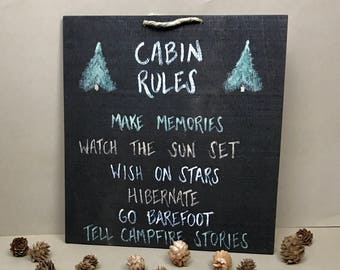 Hand-painted Wood Cabin Sign, Cabin Sign, Cabin Gifts, Gifts for Cabin, Cabin Decor, Cabin Wall Decor, Cabin Rules Sign, Cabin Wall Hanging