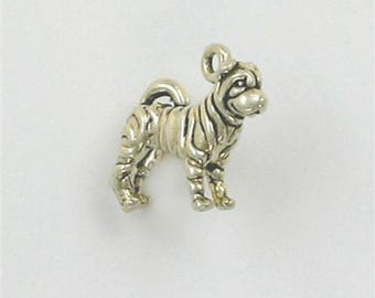 Sterling Silver 3-D Sharpei Dog Charm