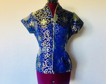 80s Silk Top Blouse Mandarin Collar Button Up Chinese Size S M by Dragon Silk