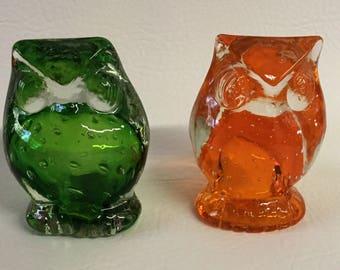 Vintage Lefton Glass Controlled Bubble Glass Owl Paperweight Figurine