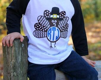 Boys Monogram Turkey Shirt, Boys Monogram Thanksgiving Raglan, Turkey Raglan for Boys, Thanksgiving Shirt for Boys, Thanksgiving Shirt