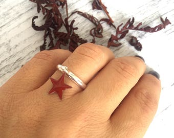 Silver brass rings with pendant enamelled star