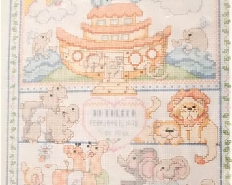 Counted Cross Stitch Kit Noah's Ark Birth Record 11x14 Vintage Bucilla From 1990 Mfg No 40527 Linda Gillum Design Kooler Design Studio
