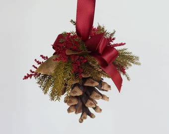 Christmas Tree Ornament, Pine Cone Ornament, Christmas Decorations, Burgundy and Gold Holiday Decor, Preserved Evergreens, Dried Flowers
