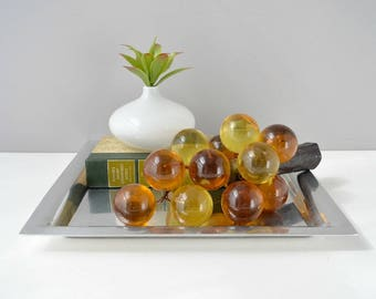 Lucite grape cluster; vintage amber lucite grapes;mid century amber grapes