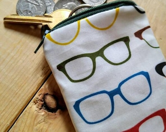 Hipster Coin Purse - Glasses Print - Laminated Purse - Change Purse - Small Zippered Bag - Zippered Pouch - Laminate Pouch - Small Pouch