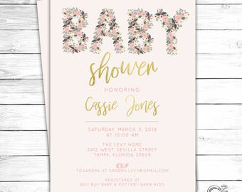 Blush Floral Baby Shower Invitation