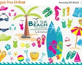 SUMMER SALE - 55% OFF Beach Cliparts, Summer Clip Art, Surf Clipart Flip Flops, Sand, Palm Illustrations Bikini, Swimsuit, Vacation Cliparts