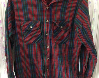 Thick red blue green check plaid shirt M