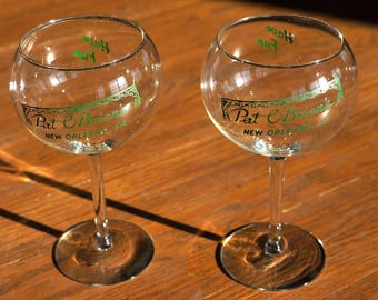 "Pair of 2 Vintage Hand Blown Pat O'Brien's New Orleans, LA Wine Glasses - ""Have Fun"" - Louisiana - Mardi Gras, Fat Tuesday"