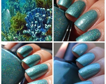 Coral Reef Blue~BeachClub Summer Collection White Holo Crelly 10ML