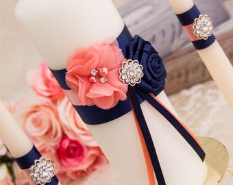 Navy and Light Coral Unity Candle Set Navy Blue Wedding Unity Candles Coral Wedding Candle Personalized Unity Candle Rhinestone Unity Candle