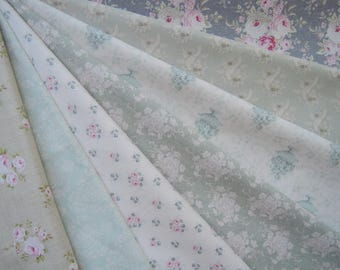 "Bundle of 1/8 Tone Finnanger Tilda Quilt Collection Fabric Blue Green Set. Approx. 9"" x 22"""