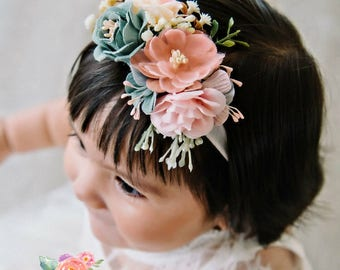 Floral nylon headband, baby Flower headband, Newborn headband, baby hair bows,Flower crown headband, Baby girl headband, Wedding Headband