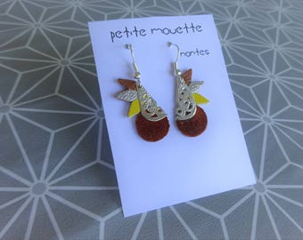 NOVELTY ★ ★ earrings dangling silver metal yellow, camel, toffee leather crafted