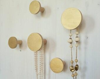 Wall hook set / jewellery holders GOLD