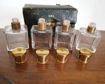 Vintage Mark Cross London Perfume Case with Four Bottles