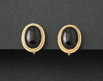 Vintave Faux Onyx Earrings  Oval Clip On