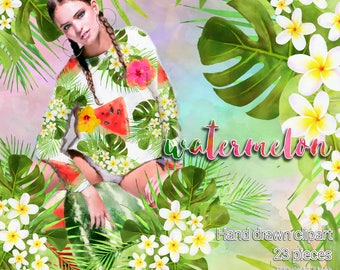 23 Watermelon girl clipart  monoii flowers clipart girl clipart illustration fresh graphics for planners and more  High Quality 300ppp