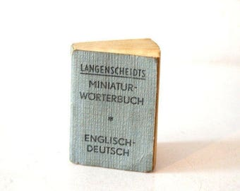 Vintage 1920s Mini Travel German Language Translation Book / Vintage Miniature Langenscheidts Engish German Dictionary Book / Tiny Word Book